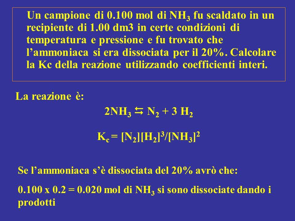 2NH3  N2 + 3 H2 Kc = [N2][H2]3/[NH3]2